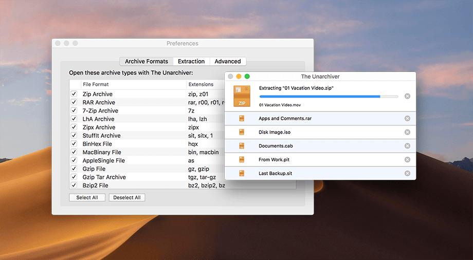 The Unarchiver logiciel de décompression gratuit pour windows 10